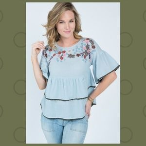 Ivy Jane Chambray Embroidered Ruffle Top 621220